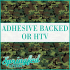 Green Classic Army Camo Pattern Adhesive Craft Vinyl or HTV for Crafts Shirts