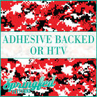 Red, Black & White Digital Camo Pattern Adhesive Vinyl or HTV Crafts or Shirts