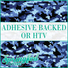Blue Digital Camo Ocean Camo Pattern Adhesive Vinyl or HTV for Crafts or Shirts!