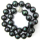 """8mm 10mm 12mm 14mm Natural Black South Sea Shell Pearl Necklace 18""""AAA+"""