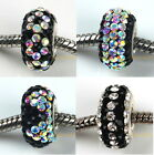 Black Clear Crystal 925 Sterling Silver Core Charms Beads Fits European Bracelet