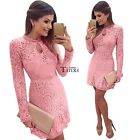 Women Lace Crochet Long Sleeve Bodycon Evening Cocktail Party Short Mini Dress