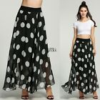 BOHO LADIES POLKA DOT PRINT CASUAL LONG MAXI SKIRT BEACH SUMMER FULL SKIRT
