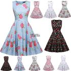 Women Vintage Style Print Sundress Swing Hem  Party Club Casual Pleated Dress US