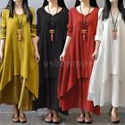 Women Cotton Linen Dress Ethnic Plus Size Maxi Long Sleeve T-shirt Dress H3X1