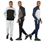 Mens Gym Contrast Jogging Full Tracksuit Top Bottoms Hoodie Set Fleece Joggers