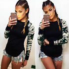 New Womens Camouflage Long Sleeve Tops T-shirt Ladies Casual Loose Blouse Shirt