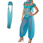 Blue Jasmine Genie Belly Women Dancer Arabian Nights Fancy Dress Costume