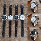 Men Women Simple Brown Black Leater Analog Quartz Watch Wristwatch