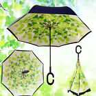 Modern Double Layer C-Handle Umbrella Upside Down Reverse Inside-Out