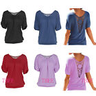 Summer Women's Short Sleeve Round Neck Loose T-shirt Lace Hollow Out Blouse Tops