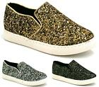 WOMENS SLIP ON FLAT PLIMSOLLS SNEAKERS PUMPS GLITTER GIRLS TRAINERS DECK SHOES