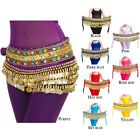 Belly Dance Hip Scarf Skirt Wrap Gold Coins Band Gemstone Jeweled Stone Velvet