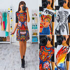 Womens Summer Party Dress Flower Printed Half Sleeve Bodycon Slim Mini Dress New