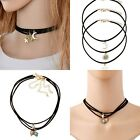 3PCS New Women Punk Bib Moon Star Pendant Leather Choker Necklace