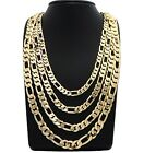 "Mens Figaro link Chain 14k Gold Plated Width 8mm to 12mm Length 20"" 24"" 30"""
