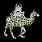 Awesome Top Rich Green Chrome Diopside Ruby 925 Sterling Silver Camel Brooch