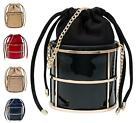 NEW WOMENS HARDCASE GOLD FRAME DRAWSTRING OCCASION LADIES CHAIN CLUTCH BAG