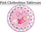 Pink Clothesline Tableware - Plates, Napkins, Cups & Tablecover