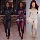 Fashion women long mesh sleeve drilling night club party long jumpsuit rompers