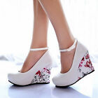 Womens Wedges High Heel Platform Ankle Strap Ladies Pumps Wedding Shoes Sandal