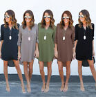 Sexy Women's Lady Summer Chiffon Solid Top Loose Dress Clothes T Shirt Plus Size