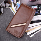 Men's Leather Wallet Zip Clutch Card Holder Long Purse Organizer Handle Business