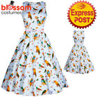 RKL43 Lady Vintage London Love Birds Hepburn Dress 50s Retro Vintage Rockabilly