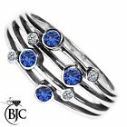 BJC® 9ct White gold Sapphire & Diamond Bespoke Raindance Rub Set Dress Ring