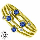 BJC® 9ct Yellow gold Sapphire & Diamond Bespoke Raindance Rub Set Dress Ring