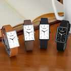 Luxury Lady Women Rectangle Shape Quartz Sport Black Leather Strap Wrist Watch