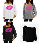 Women Girl Sexy Mouth Off Shoulder Blouse Tops T-shirt Long Sleeve Hoodies Hoody