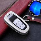 For Haval Remote Car Key Case Aircraft Aluminum Cover Genuine Leather Keychain