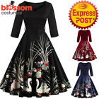 K342 Retro 50s Rockabilly Vintage Swan Pin Up Swing Dress 1950s Evening Formal