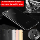 Slim Hybrid Shockproof Aluminum Metal Bumper Clear Hard Case For iPhone 7 7 Plus