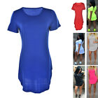 Women's Short Sleeve Casual Summer Long Tunic Top T-shirt Blouse Dress TBUS
