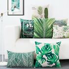 Green Plants Leaves Office Decor Pillow Case Cushion Cover Square Oblong Linen