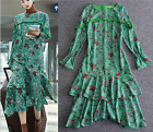K2017 occident green printing lady long irregular dress new fashion runway S~XL