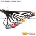 """Assorted Color 40mm Lava Rock Volcanic Pendant Necklace Letaer Rope 18"""" Gift SDB"""