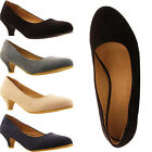 New Womens Ladies Formal Faux Suede Slip On Kitten Heel Court Office Pumps Shoes