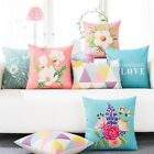 Colorful Triangle Flowers Leaves Decor Pillow Case Cushion Cover Square Oblong