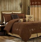 7-Pcs Embroidery Western Star Microsuede Oversized Bedding Comforter Set Brown