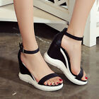 Fashion Womens Open toe Ankle Strap Wedge heel Platform Sandals Casual Shoes New