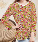 Mushrooms Poppies Paisley Women Lady V Neck 3/4 Sleeve T-shirt b107 acq02626