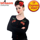 RKN16 Banned 50s Cherry Skull Gothic Black Pin Up Cardigan Top Retro Rockabilly