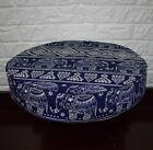 AL257r Royal Blue Beige Elephant Cotton Canvas 3D Round Seat Cushion Cover Size