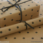 Black Spots Patterned Kraft Brown Wrapping Paper 5 or 10 mtrs Vintage Style Wrap
