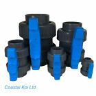 "1"" ,11/2"",2"",3"",4"" DOUBLE UNION BALL VALVES PVC KOI POND PLUMBING ENGINEERING"