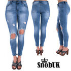 NEW WOMENS LADIES LIGHT BLUE WASH DISTRESSED BEADED SKINNY EXTREME RIPPED JEANS