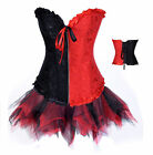 Red/Black Embroider Floral Corset for wedding And Net Tutu Fancy Dress Costume